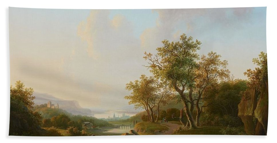 Willem De Klerk Bath Sheet featuring the painting River Landscape With Views Of A Castle And Town by Willem de Klerk