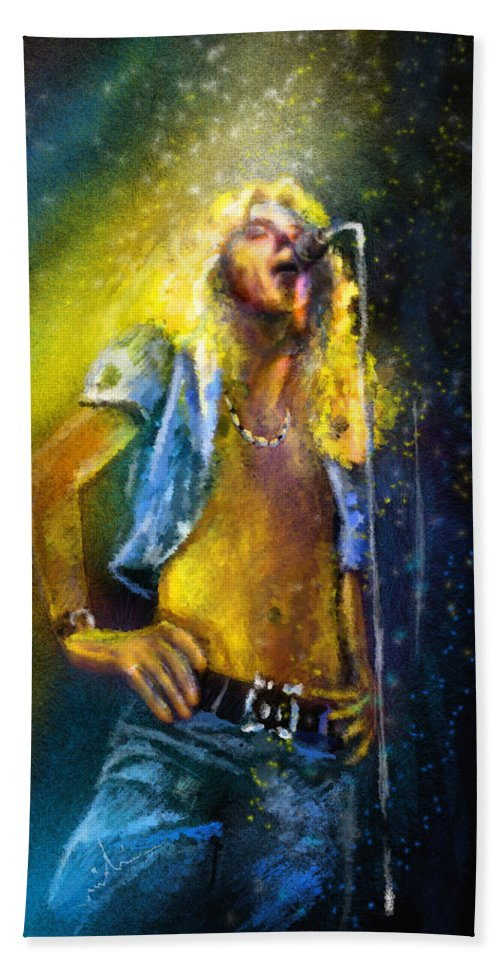 Music Hand Towel featuring the painting Robert Plant 01 by Miki De Goodaboom