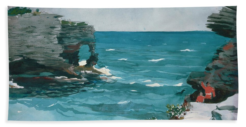 Rocky Shore Hand Towel featuring the painting Rocky Shore, Bermuda by Winslow Homer