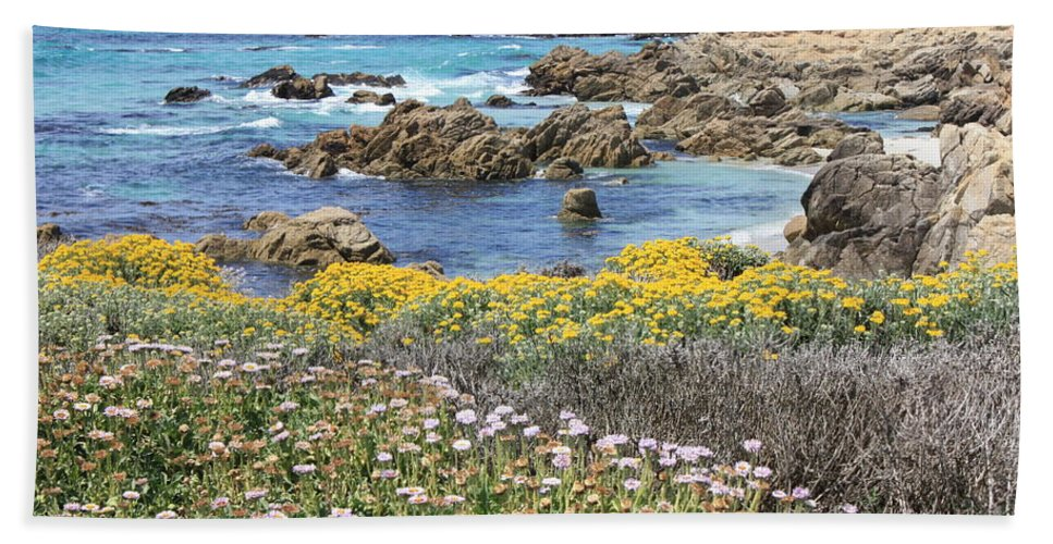 California Bath Sheet featuring the photograph Rocky Surf With Wildflowers by Carol Groenen