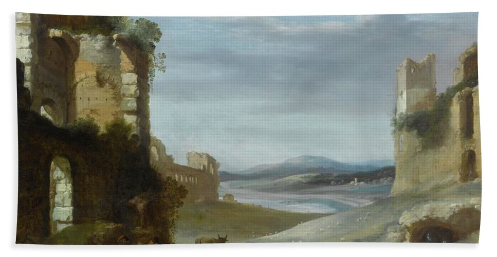 Cornelis Van Poelenburgh Roman Landscape With Ruins Bath Sheet featuring the painting Roman Landscape With Ruins by MotionAge Designs