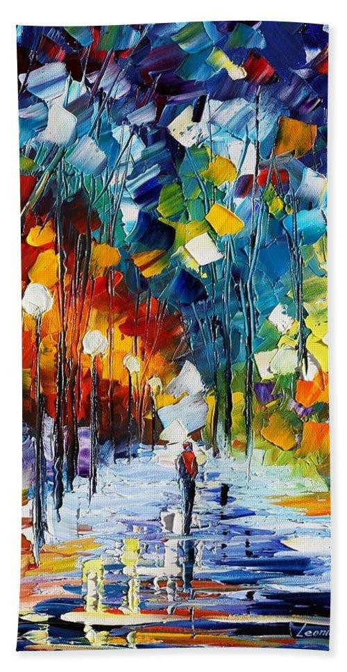 Afremov Bath Sheet featuring the painting Romantic Winter by Leonid Afremov