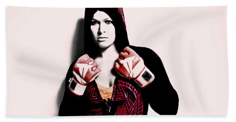 Ronda Rousey Hand Towel featuring the mixed media Ronda Rousey Here We Go by Brian Reaves