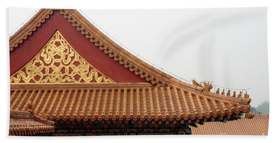 China Bath Sheet featuring the photograph Roof Forbidden City Beijing China by Thomas Marchessault