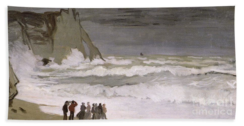 Rough Sea At Etretat Bath Sheet featuring the painting Rough Sea At Etretat by Claude Monet