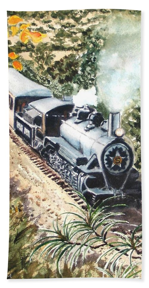 Trains Hand Towel featuring the painting Round The Bend by Karen Ilari