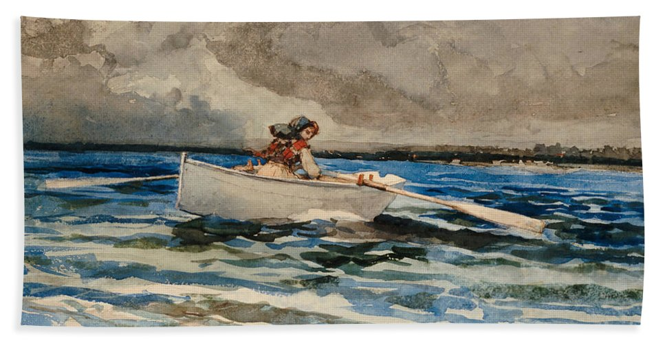 Rowing At Prout's Neck Bath Sheet featuring the painting Rowing At Prouts Neck by Winslow Homer