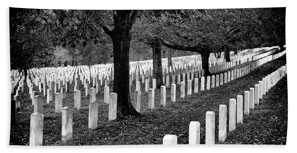 Arlington National Cemetery Bath Sheet featuring the photograph Rows Of Honor by Paul W Faust - Impressions of Light