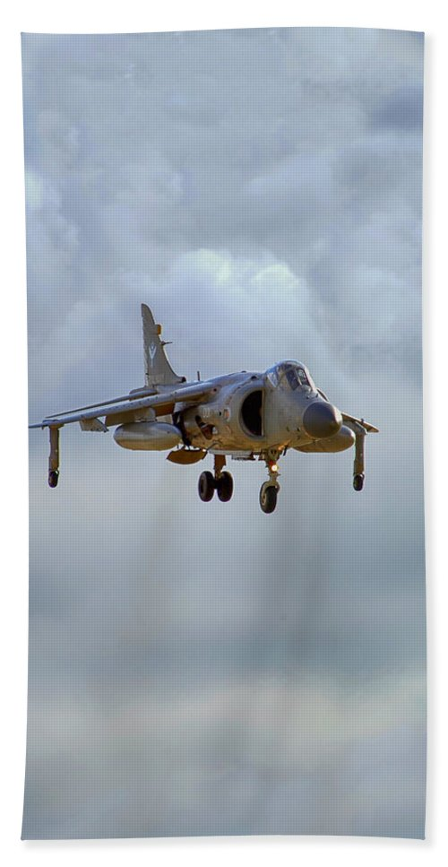 Royal Navy Hand Towel featuring the photograph Royal Navy Sea Harrier. by Chris Smith