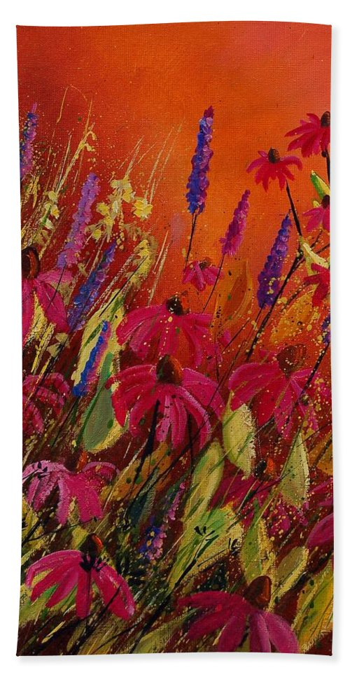 Flowers Bath Sheet featuring the painting Rudbeckias And Lyatris by Pol Ledent