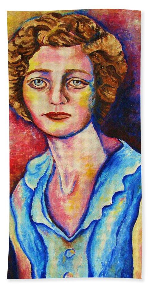 Portraits Bath Towel featuring the painting Sad Eyes by Carole Spandau