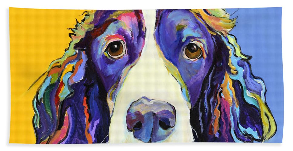Blue Hand Towel featuring the painting Sadie by Pat Saunders-White