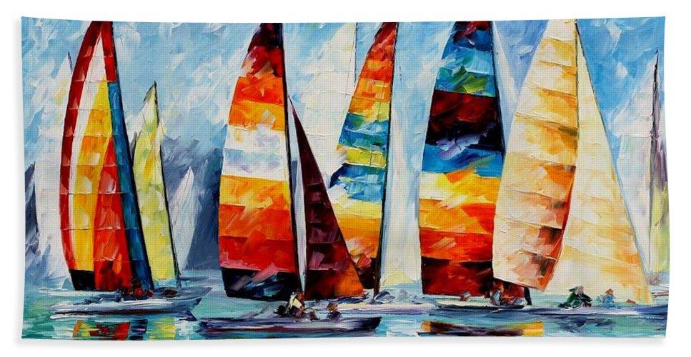 Afremov Hand Towel featuring the painting Sail Regatta by Leonid Afremov