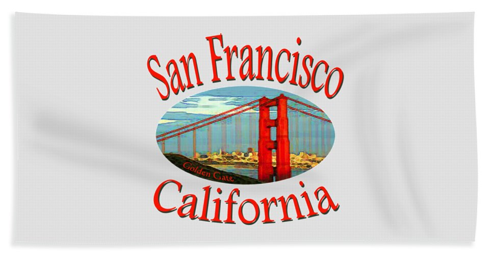 Sanfrancisco Hand Towel featuring the mixed media San Francisco California Design by Peter Potter