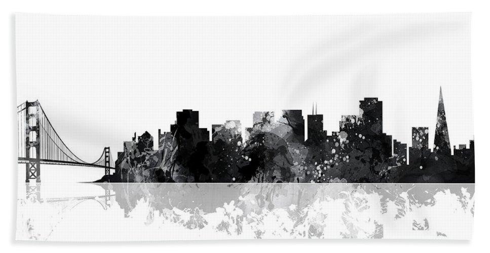 San Francisco California Skyline Bath Sheet featuring the digital art San Francisco California Skyline by Marlene Watson