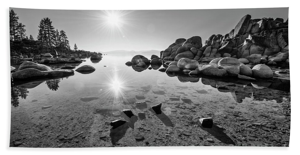 Sand Harbor Bath Sheet featuring the photograph Sand Harbor Star by Jamie Pham