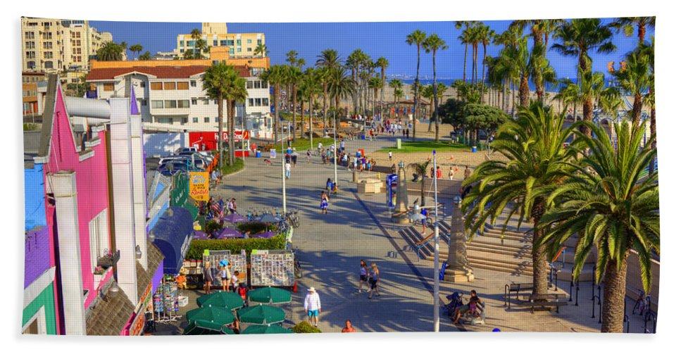 Santa Hand Towel featuring the photograph Santa Monica Beach by Ricky Barnard