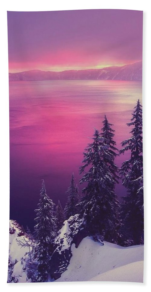Scenery Pink White Snow Trees Sun Hand Towel featuring the photograph Scenery by Sarah Waldman