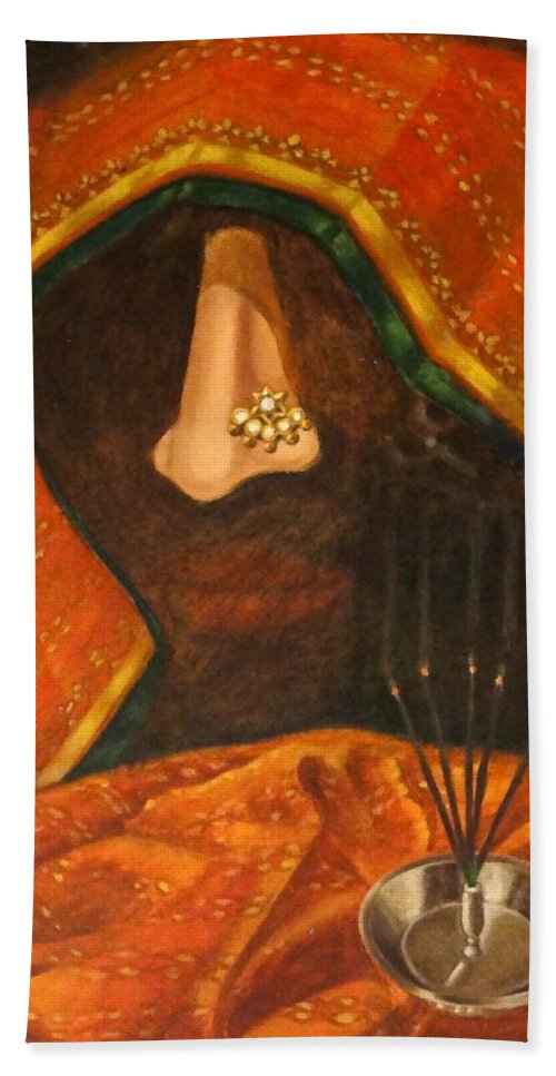 Scent Bath Sheet featuring the painting Scent Of A Woman by Usha Shantharam