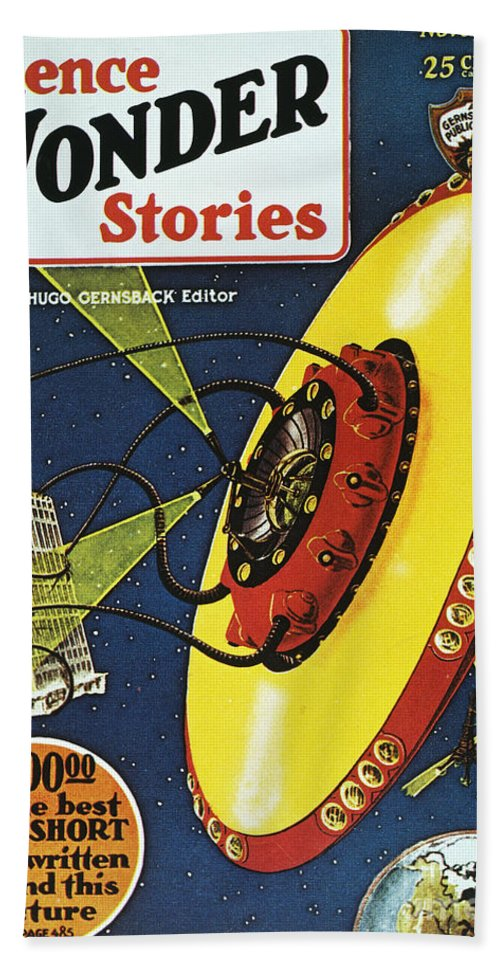 1929 Hand Towel featuring the photograph Sci-fi Magazine Cover, 1929 by Granger