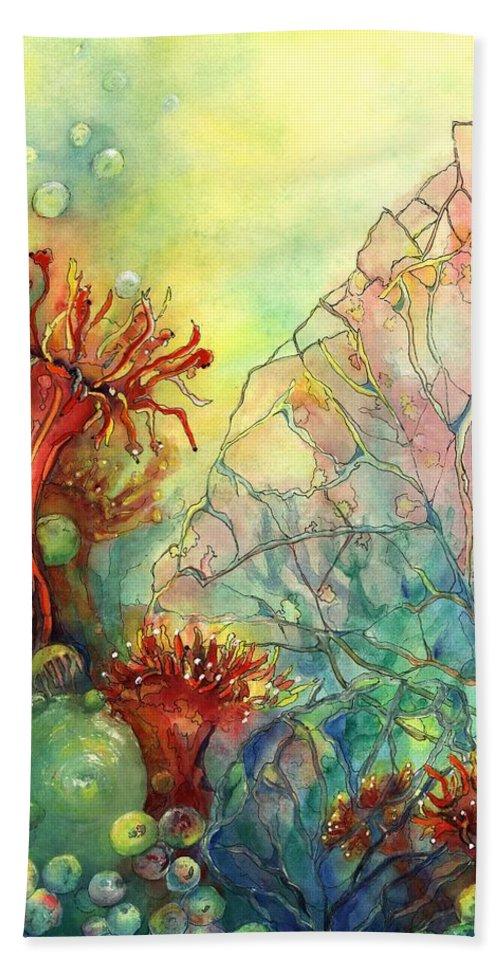 Ocean Hand Towel featuring the painting Seaflowers II by Cheryl Ehlers