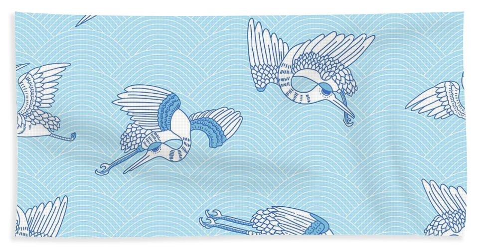 Seagulls Hand Towel featuring the digital art Seagulls by Cutequokka2