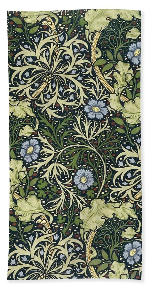William Morris Bath Towel featuring the painting Seaweed Pattern by William Morris