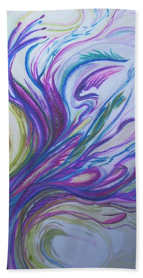 Abstract Hand Towel featuring the painting Seaweedy by Suzanne Udell Levinger