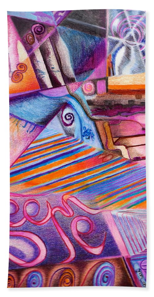 Abstract Imaginary Pink Purple Orange Colored Pencils Hand Towel featuring the drawing See Me Evaporate by Suzanne Udell Levinger