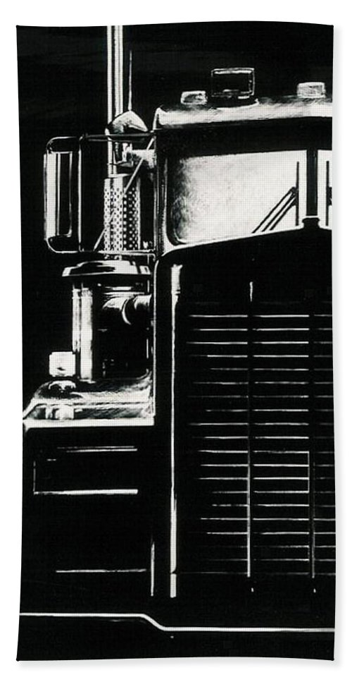 Vehicle Bath Sheet featuring the drawing Semi by Barbara Keith