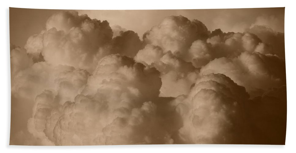 Sepia Hand Towel featuring the photograph Sepia Clouds by Rob Hans