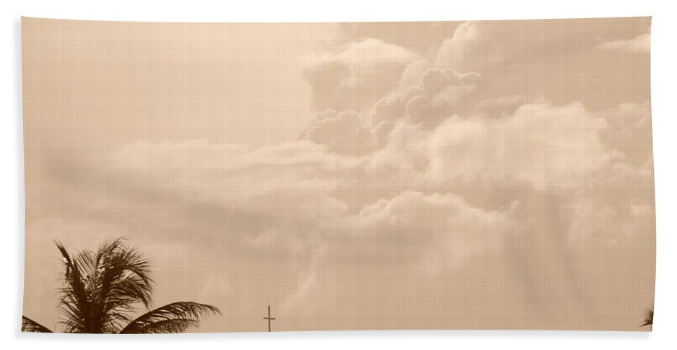 Sepia Bath Sheet featuring the photograph Sepia Sky by Rob Hans