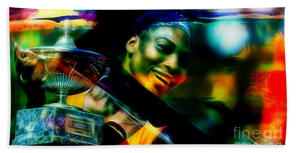 Serena Williams Drawings Bath Sheet featuring the mixed media Serena Williams by Marvin Blaine