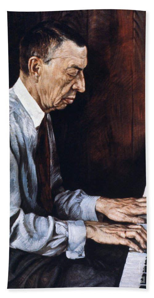 19th Century Hand Towel featuring the photograph Sergei Rachmaninoff by Granger