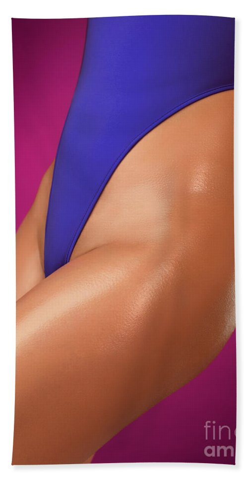 Swimsuit Hand Towel featuring the photograph Sexy Young Woman In High Cut Swimsuit by Oleksiy Maksymenko