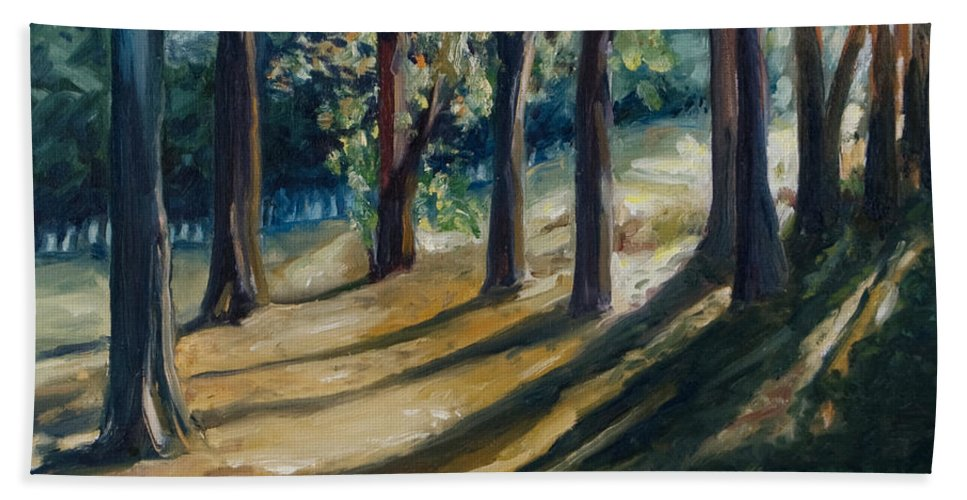 Trees Bath Towel featuring the painting Shadows by Rick Nederlof