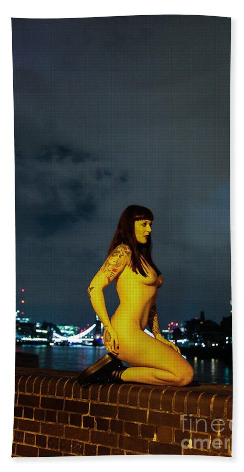 Fine Art Nude Hand Towel featuring the photograph Shay Hendrix by Nocturnal Girls