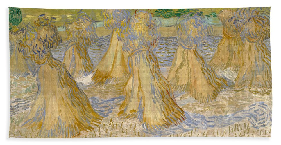 Dutch Hand Towel featuring the painting Sheaves Of Wheat by Vincent van Gogh