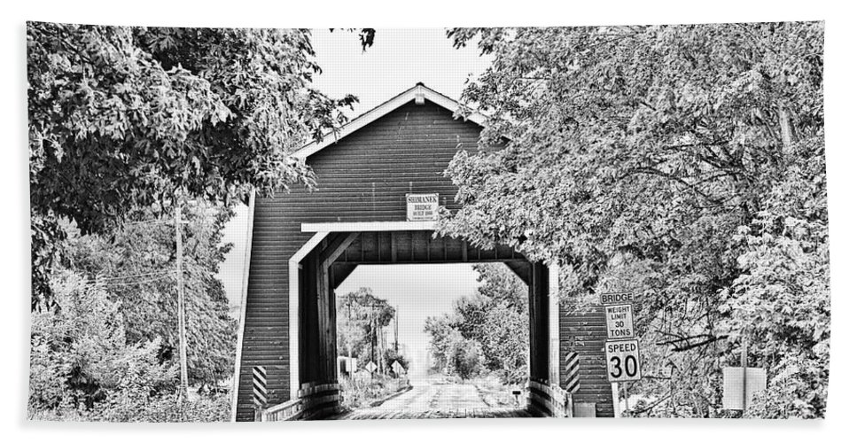Covered Bridge Hand Towel featuring the photograph Shimanek Covered Bridge -surreal Bw by Scott Pellegrin
