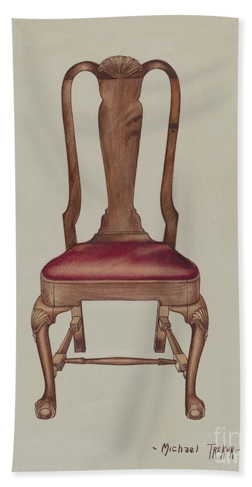 Hand Towel featuring the drawing Side Chair by Charles Squires