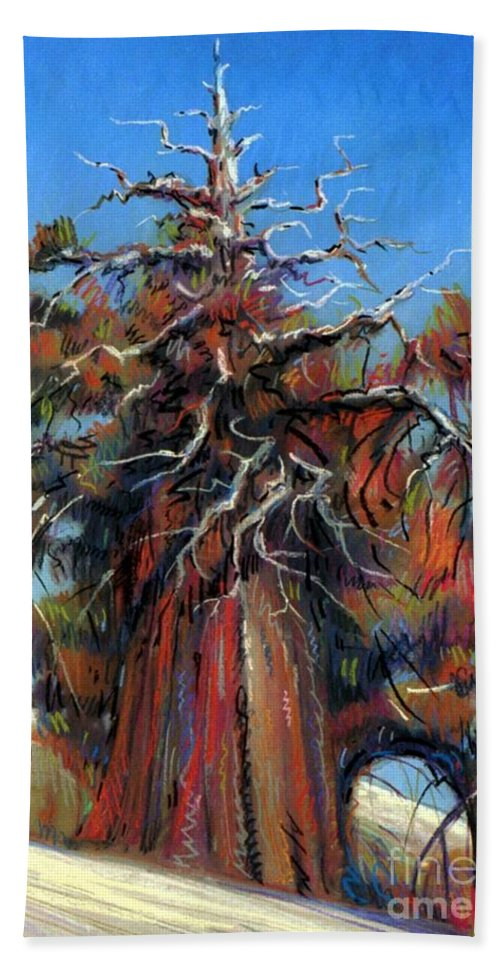 Juniper Hand Towel featuring the painting Sierra Juniper by Donald Maier