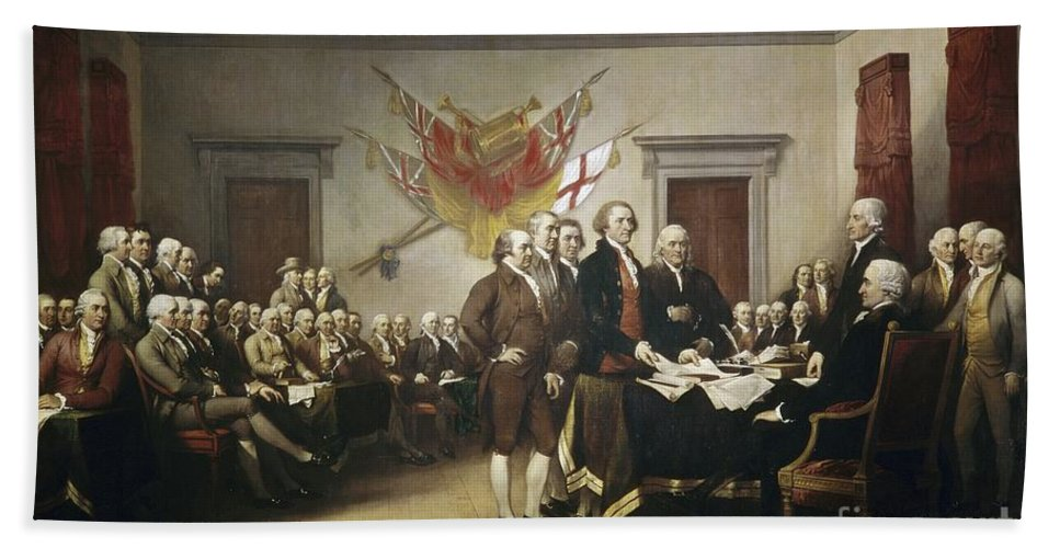 Signing Bath Towel featuring the painting Signing The Declaration Of Independence by John Trumbull