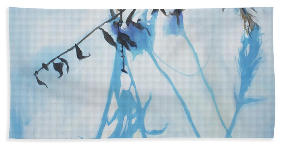 Lin Petershagen Bath Towel featuring the painting Silent Winter by Lin Petershagen