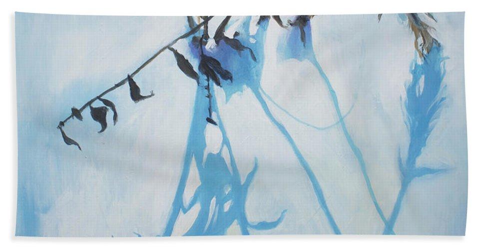 Lin Petershagen Bath Sheet featuring the painting Silent Winter by Lin Petershagen