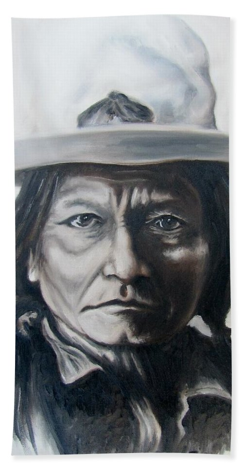 Sitting Bull Hand Towel featuring the painting Sitting Bull by Michael TMAD Finney