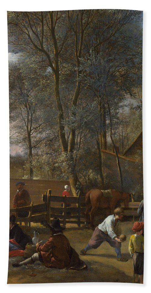 Arts Bath Sheet featuring the painting Skittle Players Outside An Inn by Jan Steen
