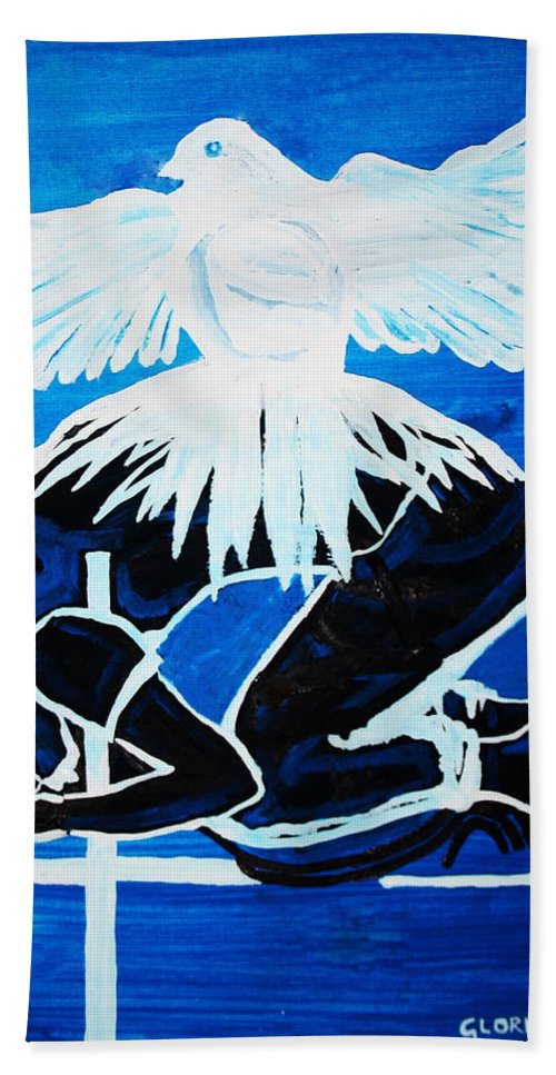 Jesus Bath Sheet featuring the painting Slain In The Holy Spirit by Gloria Ssali