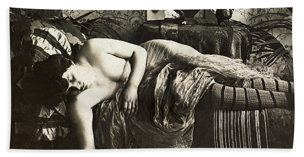 1900 Bath Sheet featuring the painting Sleeping Woman, C1900 by Granger