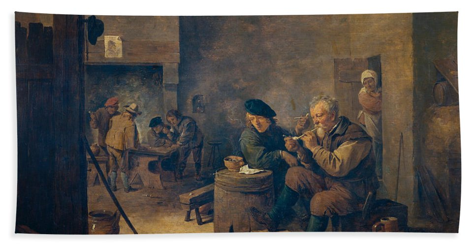 Baroque Hand Towel featuring the painting Smokers by David Teniers the Younger