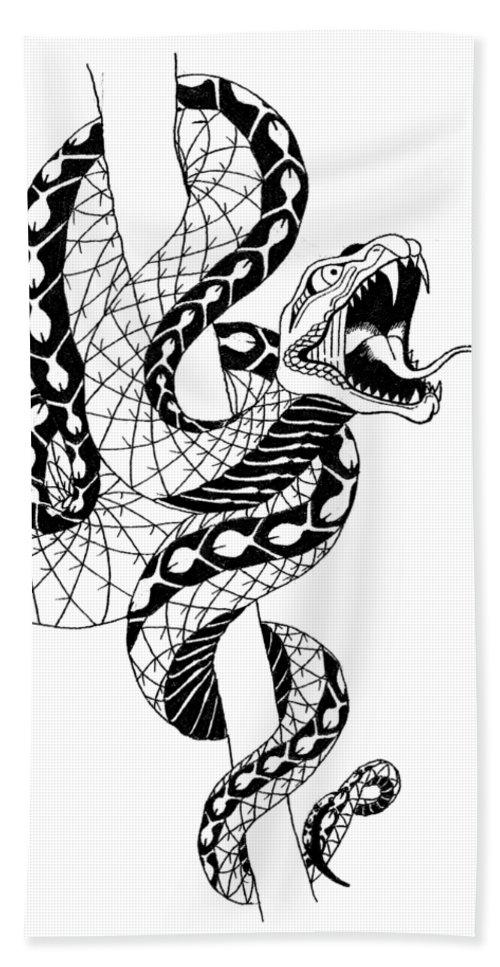 Snake Hand Towel featuring the digital art Snake by Lupita Mastara